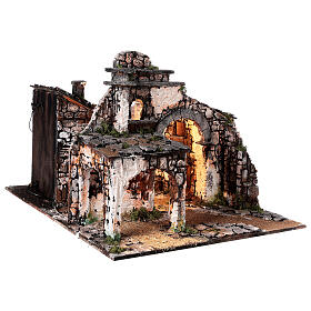 Medieval hamlet 55x80x50 cm with mirror and 12 cm figurines s5