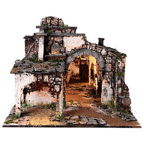 Medieval hamlet 55x80x50 cm with mirror and 12 cm figurines s10