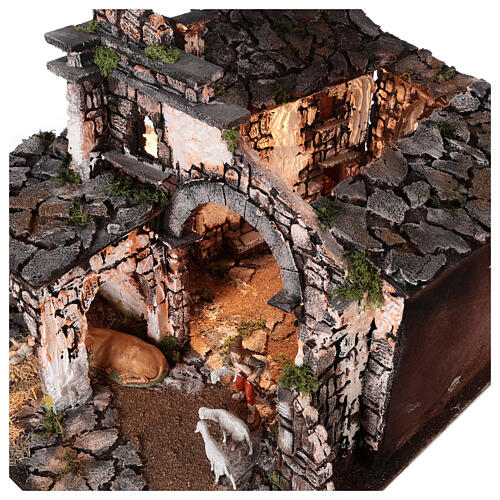 Medieval hamlet 55x80x50 cm with mirror and 12 cm figurines 8