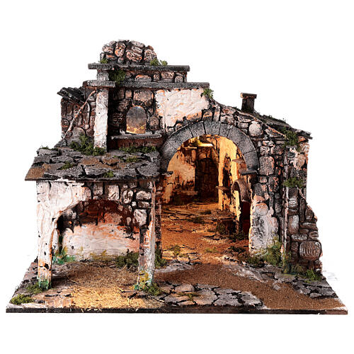Medieval hamlet 55x80x50 cm with mirror and 12 cm figurines 10