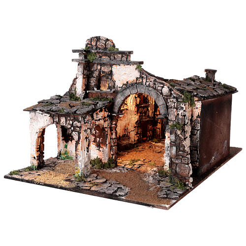 Medieval hamlet 55x80x50 cm with mirror and 12 cm figurines 11