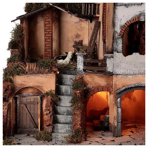Cenário estilo clássico com forno e estábulo da vaca para presépio napolitano com figuras de altura média 10 cm, medidas: 50x58x41 cm 4