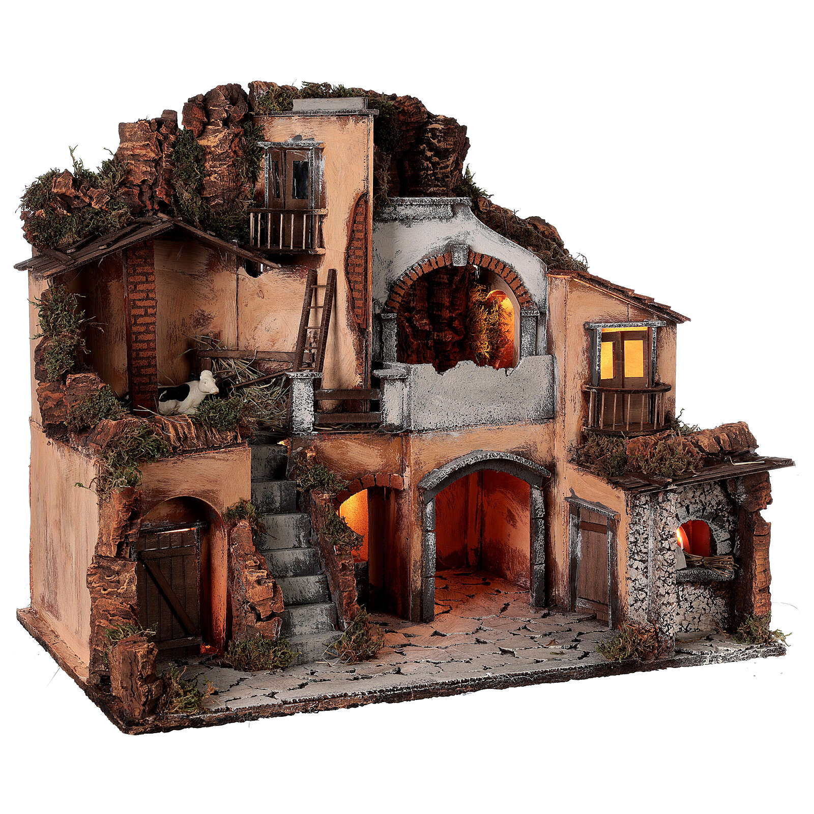 Classic nativity village oven stable cow 10 cm Neapolitan nativity 50x60x40 4