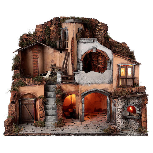 Classic nativity village oven stable cow 10 cm Neapolitan nativity 50x60x40 1