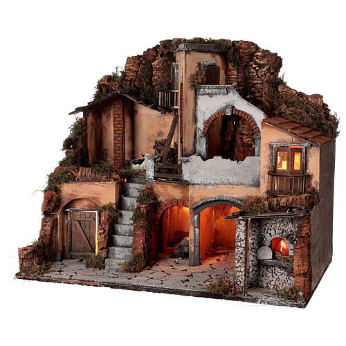 Classic nativity village oven stable cow 10 cm Neapolitan nativity 50x60x40 3