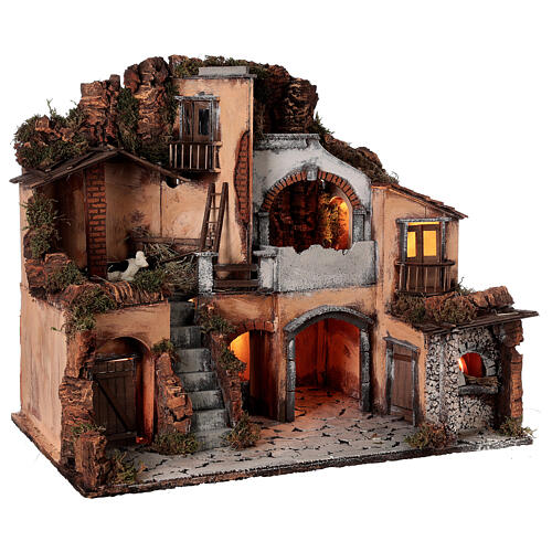 Classic nativity village oven stable cow 10 cm Neapolitan nativity 50x60x40 5