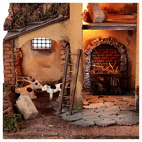 1700s Neapolitan nativity village with watermill 40x60x40 cm for 10 cm figures s2