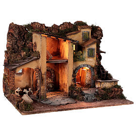 1700s Neapolitan nativity village with watermill 40x60x40 cm for 10 cm figures s4