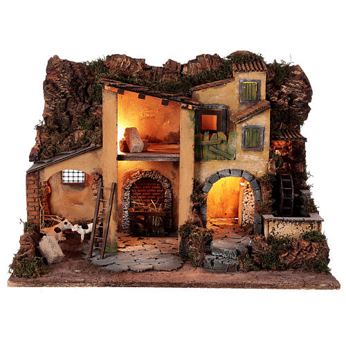 1700s Neapolitan nativity village with watermill 40x60x40 cm for 10 cm figures 1