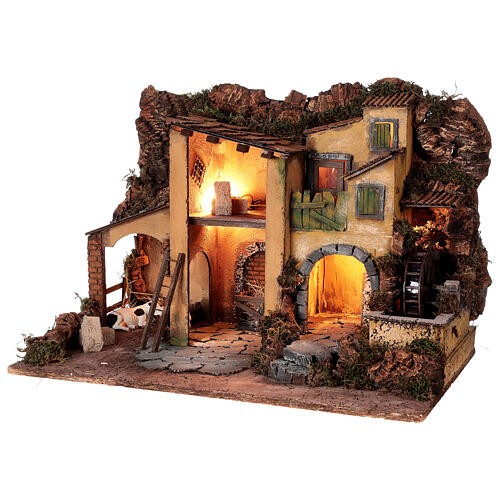 1700s Neapolitan nativity village with watermill 40x60x40 cm for 10 cm figures 3