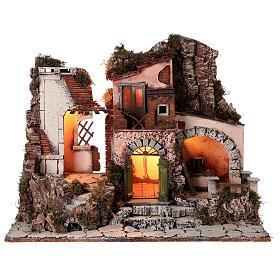 Aldeia estilo 700 com moinho de pedra para presépio napolitano com figuras de altura média 10 cm, medidas: 48x60x40 cm s1