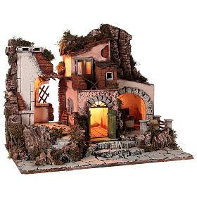 Aldeia estilo 700 com moinho de pedra para presépio napolitano com figuras de altura média 10 cm, medidas: 48x60x40 cm s5