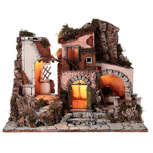 Aldeia estilo 700 com moinho de pedra para presépio napolitano com figuras de altura média 10 cm, medidas: 48x60x40 cm 1
