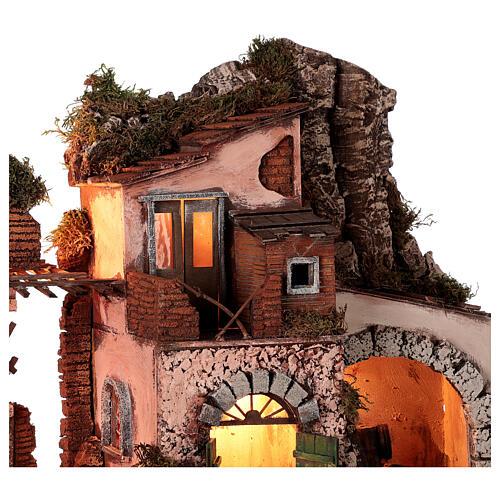 Aldeia estilo 700 com moinho de pedra para presépio napolitano com figuras de altura média 10 cm, medidas: 48x60x40 cm 2