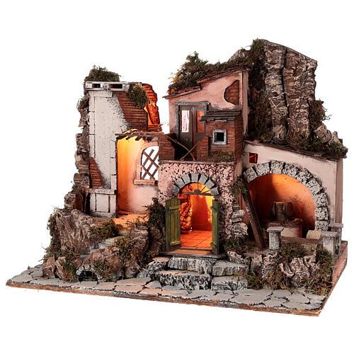 Aldeia estilo 700 com moinho de pedra para presépio napolitano com figuras de altura média 10 cm, medidas: 48x60x40 cm 3