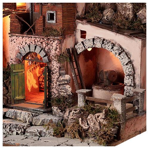Aldeia estilo 700 com moinho de pedra para presépio napolitano com figuras de altura média 10 cm, medidas: 48x60x40 cm 4