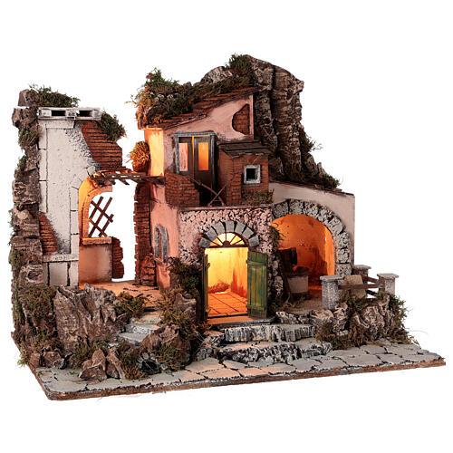 Aldeia estilo 700 com moinho de pedra para presépio napolitano com figuras de altura média 10 cm, medidas: 48x60x40 cm 5