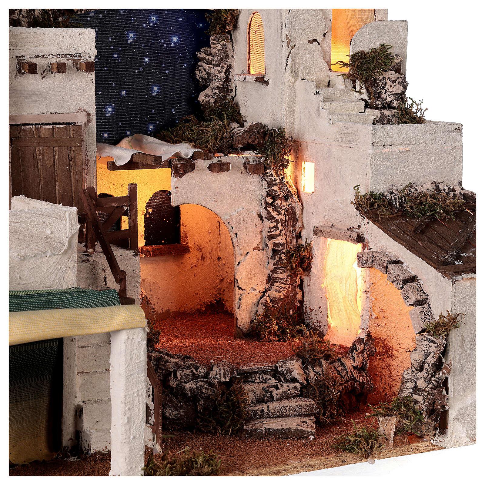 Aldeia estilo árabe com forno para presépio napolitano com figuras altura média 10 cm, medidas: 50x58x43 4