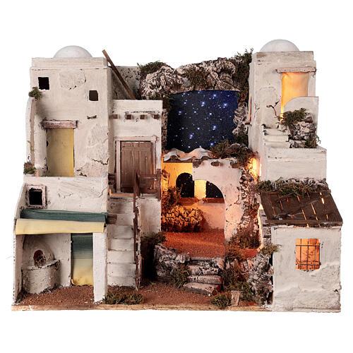 Aldeia estilo árabe com forno para presépio napolitano com figuras altura média 10 cm, medidas: 50x58x43 1