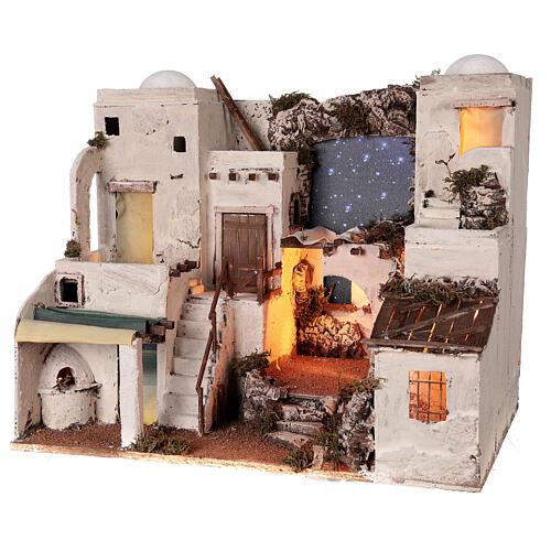 Aldeia estilo árabe com forno para presépio napolitano com figuras altura média 10 cm, medidas: 50x58x43 3