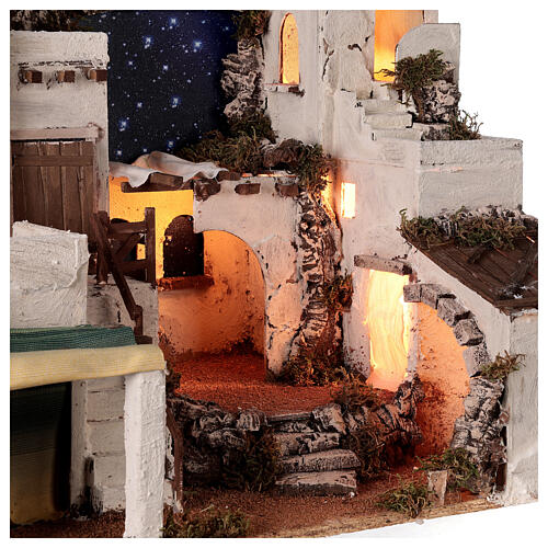 Aldeia estilo árabe com forno para presépio napolitano com figuras altura média 10 cm, medidas: 50x58x43 6
