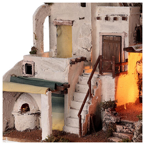 Arabian style village Neapolitan nativity with oven 50x60x45 cm for 10 cm figurines 2