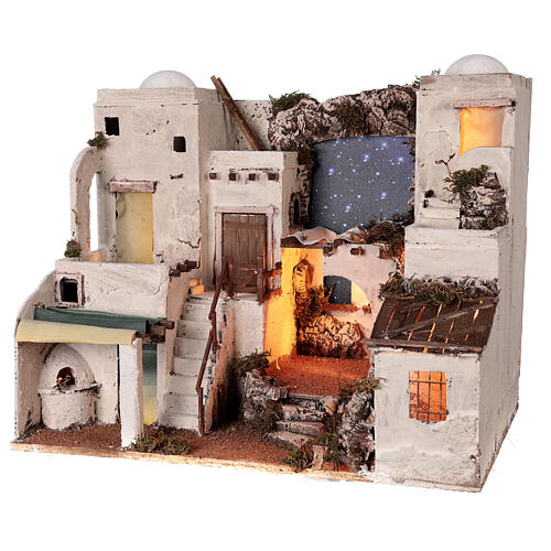 Arabian style village Neapolitan nativity with oven 50x60x45 cm for 10 cm figurines 3