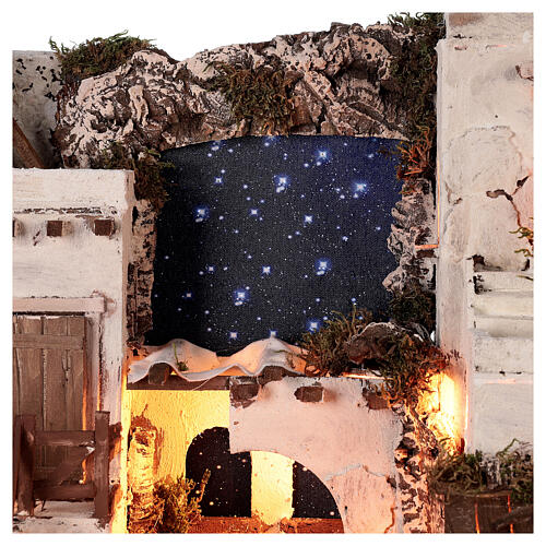 Arabian style village Neapolitan nativity with oven 50x60x45 cm for 10 cm figurines 4
