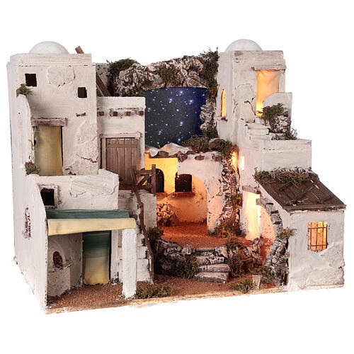 Arabian style village Neapolitan nativity with oven 50x60x45 cm for 10 cm figurines 5