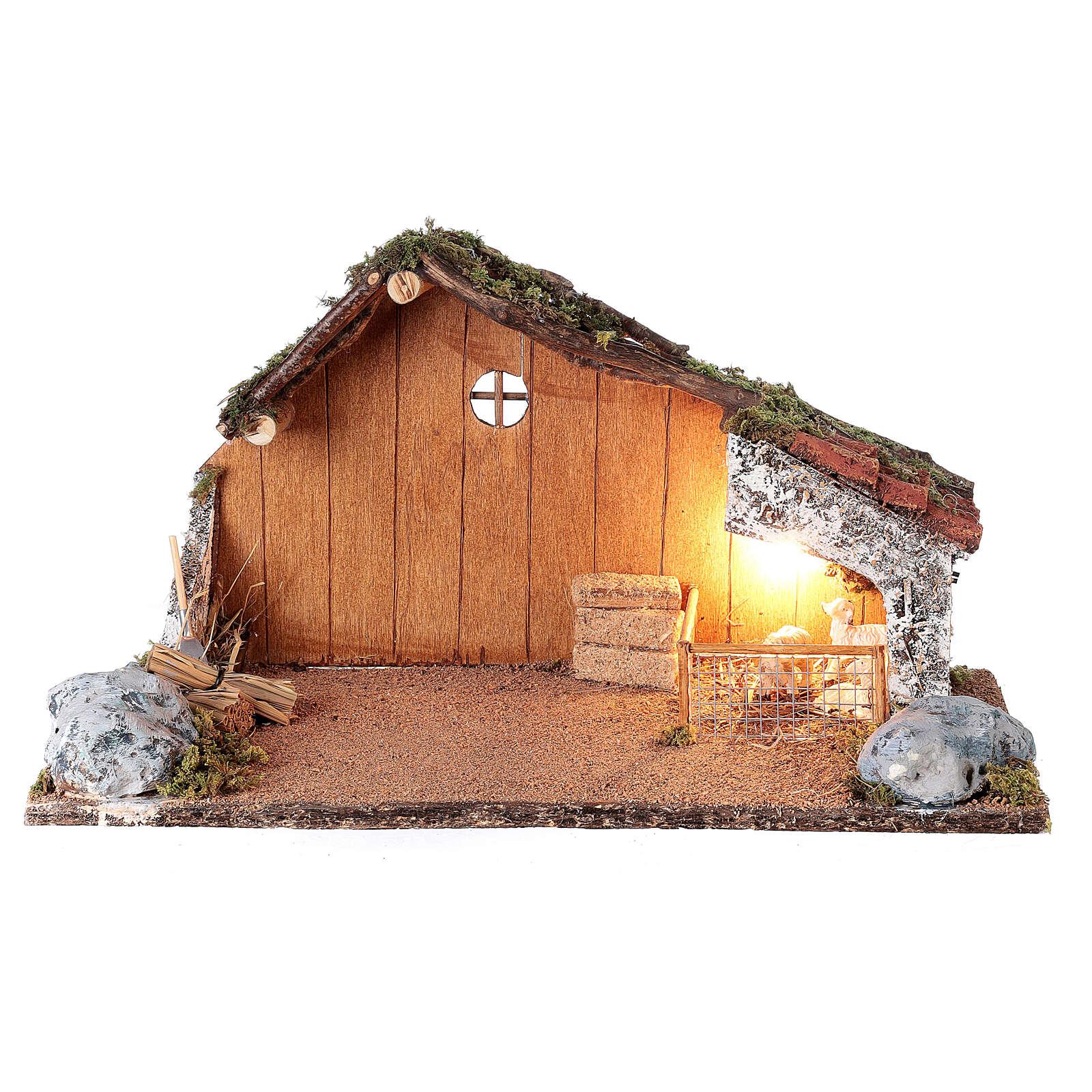 Capanna recinto pecore presepe napoletano20x40x20 per statue 8-10 cm 4