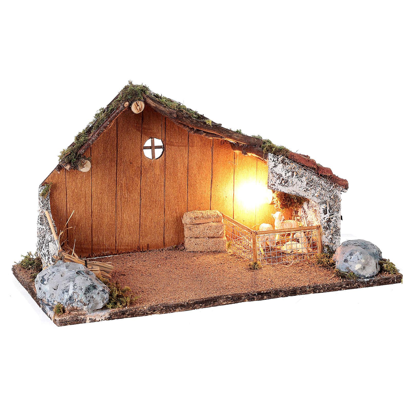 Cabana com redil de ovelhas cenário presépio napolitano figuras altura média 8-10 cm; medidas: 22x38x20 cm 4