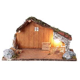 Cabana com redil de ovelhas cenário presépio napolitano figuras altura média 8-10 cm; medidas: 22x38x20 cm s1