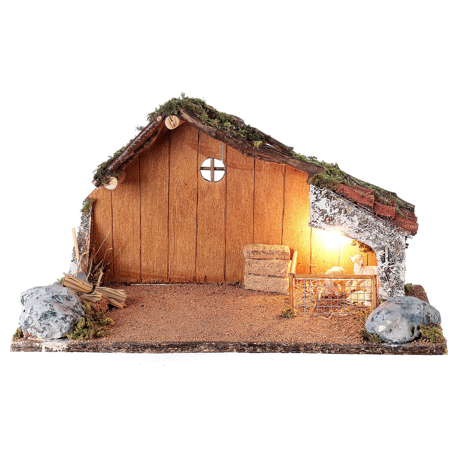 Stable with sheep enclosure, Neapolitan nativity scene 20x40x20 for statues 8-10 cm 4