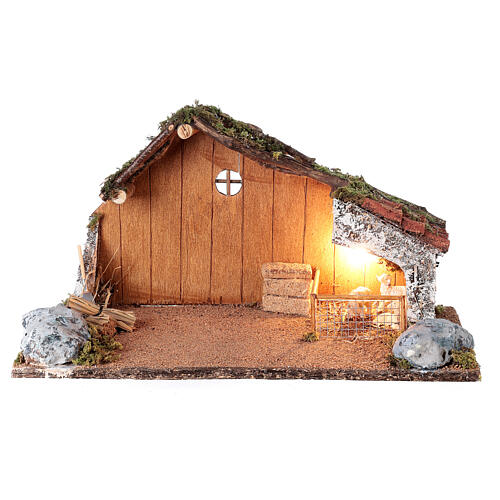 Stable with sheep enclosure, Neapolitan nativity scene 20x40x20 for statues 8-10 cm 1