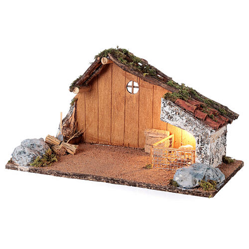 Stable with sheep enclosure, Neapolitan nativity scene 20x40x20 for statues 8-10 cm 2