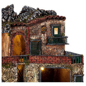 Neapolitan Nativity scene village two floors illuminated 40x50x30 for statues 8-10 cm s2