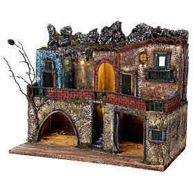 Neapolitan Nativity scene village two floors illuminated 40x50x30 for statues 8-10 cm s3