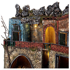 Neapolitan Nativity scene village two floors illuminated 40x50x30 for statues 8-10 cm s4