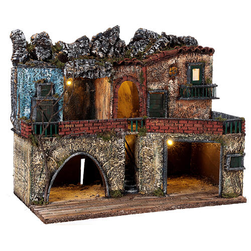 Neapolitan Nativity scene village two floors illuminated 40x50x30 for statues 8-10 cm 5