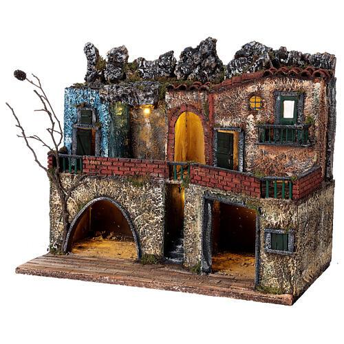 Borgo presepe napoletano due piani illuminato 40x50x30 per statue 8-10 cm 3