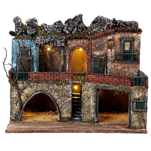 Lighted village Neapolitan nativity two-story 40x50x30 cm for 8-10 cm figurines 1