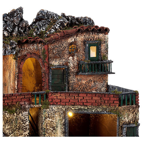 Lighted village Neapolitan nativity two-story 40x50x30 cm for 8-10 cm figurines 2