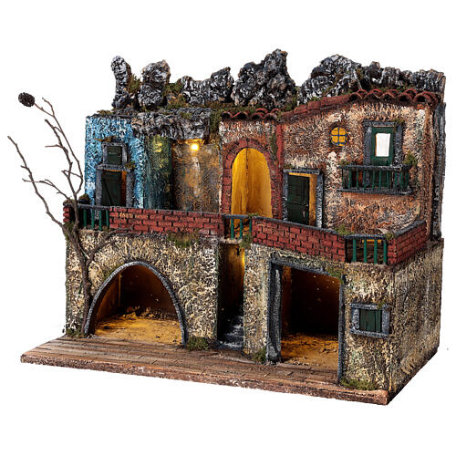 Lighted village Neapolitan nativity two-story 40x50x30 cm for 8-10 cm figurines 3
