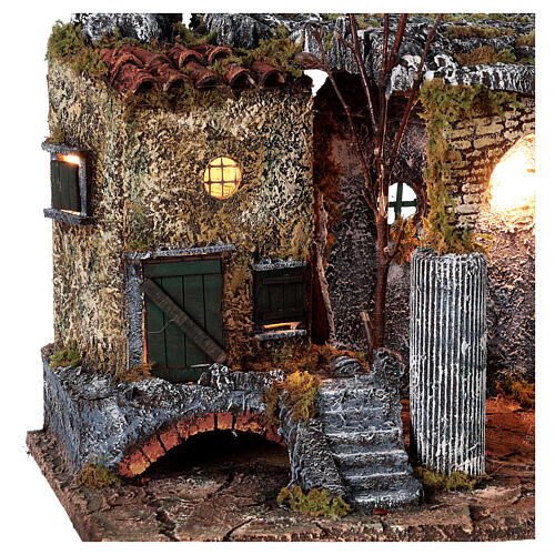 Temple ruins fountain and house Neapolitan Nativity scene 40x50x30 for statues 8 cm 4