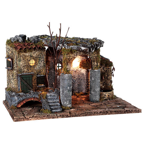 Temple ruins fountain and house Neapolitan Nativity scene 40x50x30 for statues 8 cm 5