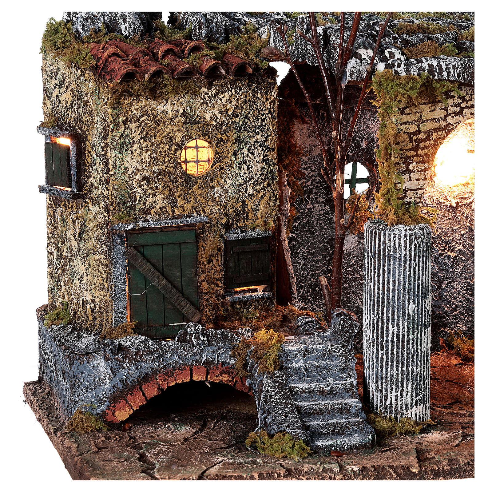 Temple en ruine fontaine et maison crèche napolitaine 40x50x30 cm pour santons 8 cm 4