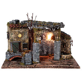Temple en ruine fontaine et maison crèche napolitaine 40x50x30 cm pour santons 8 cm s1