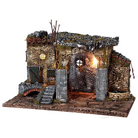 Temple en ruine fontaine et maison crèche napolitaine 40x50x30 cm pour santons 8 cm s3