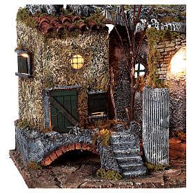 Temple en ruine fontaine et maison crèche napolitaine 40x50x30 cm pour santons 8 cm s4