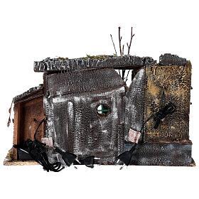 Temple en ruine fontaine et maison crèche napolitaine 40x50x30 cm pour santons 8 cm s6